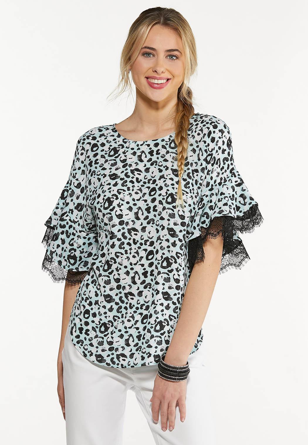 Plus Size Leopard Lace Trim Top