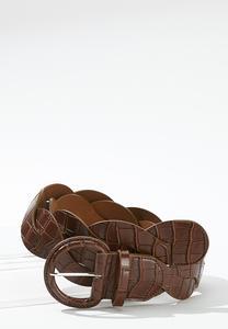 Faux Leather Croc Belt