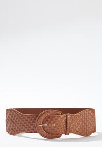 Plus Size Woven Buckle Stretch Belt