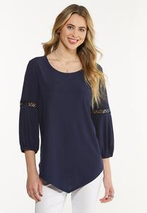 Plus Size Pointed Lace Trim Top