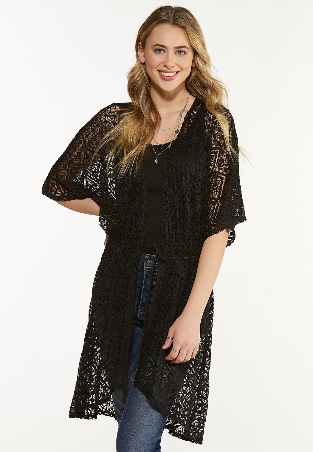Plus Size Black Lace Kimono