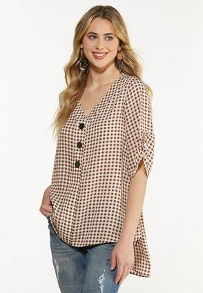 Plus Size Gingham High Low Tunic