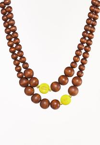 Yellow Accent Wood Ball Necklace