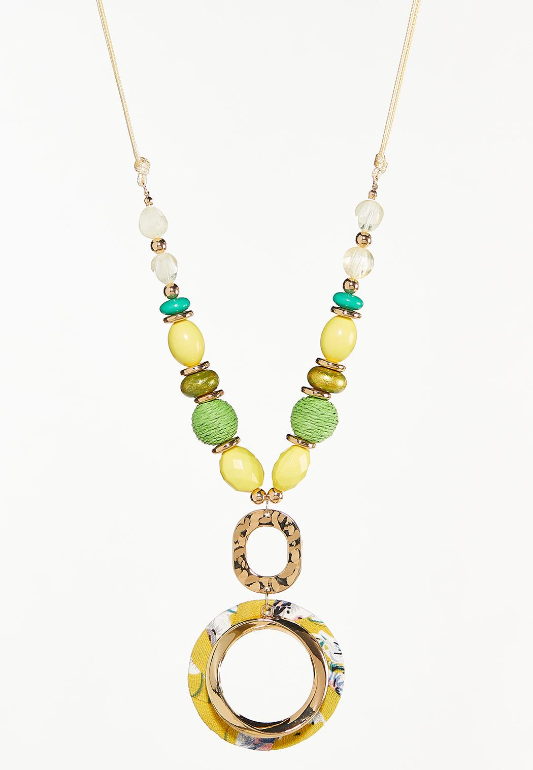 Fabric Wrapped Pendant Bead Necklace
