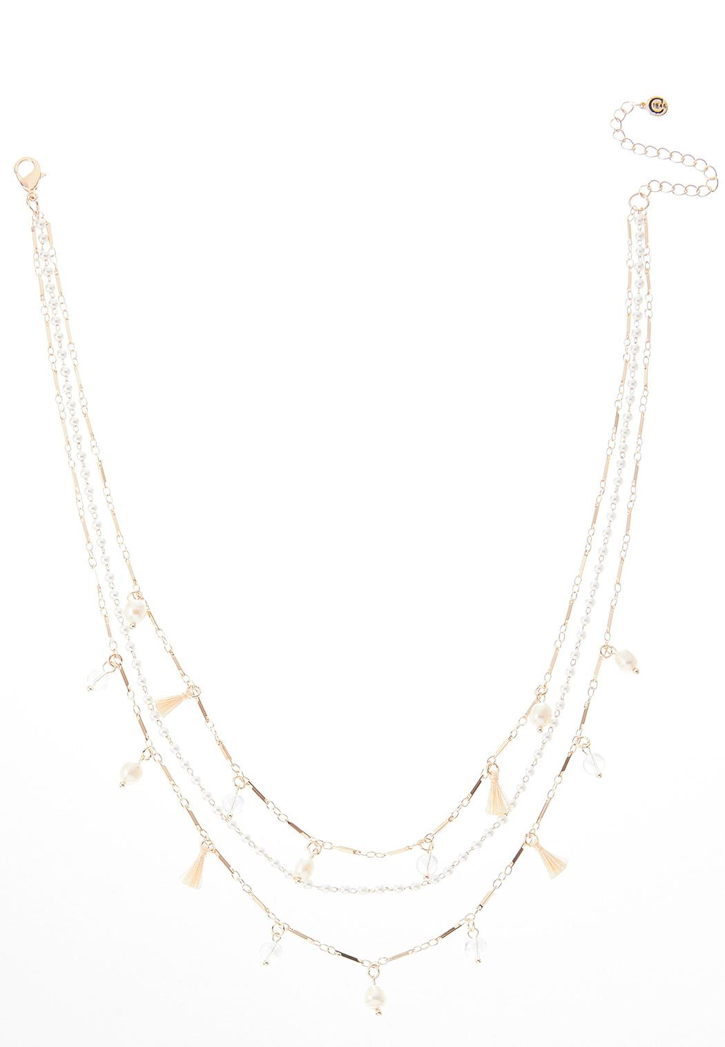Triple Layer Pearl Detail Necklace