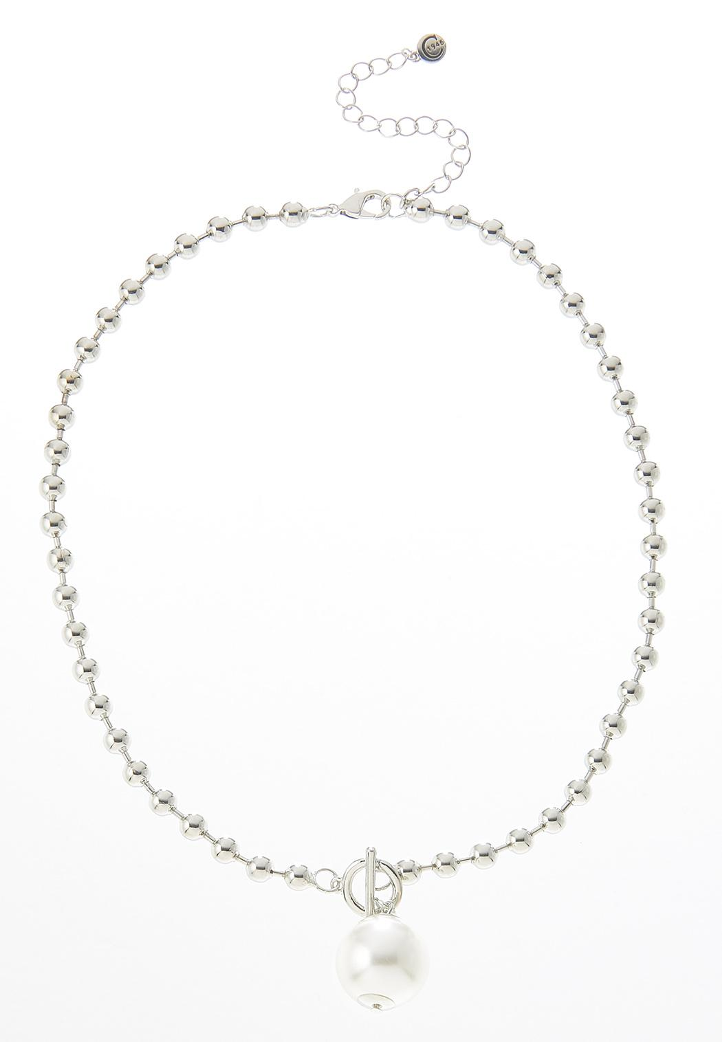 Pearl Ball Toggle Necklace