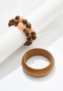 Wood Bangle And Stretch Bracelet Set