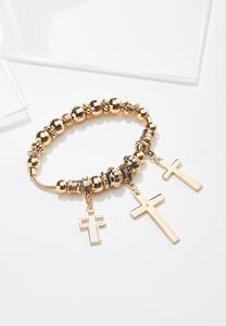 Triple Cross Charm Stretch Bracelet
