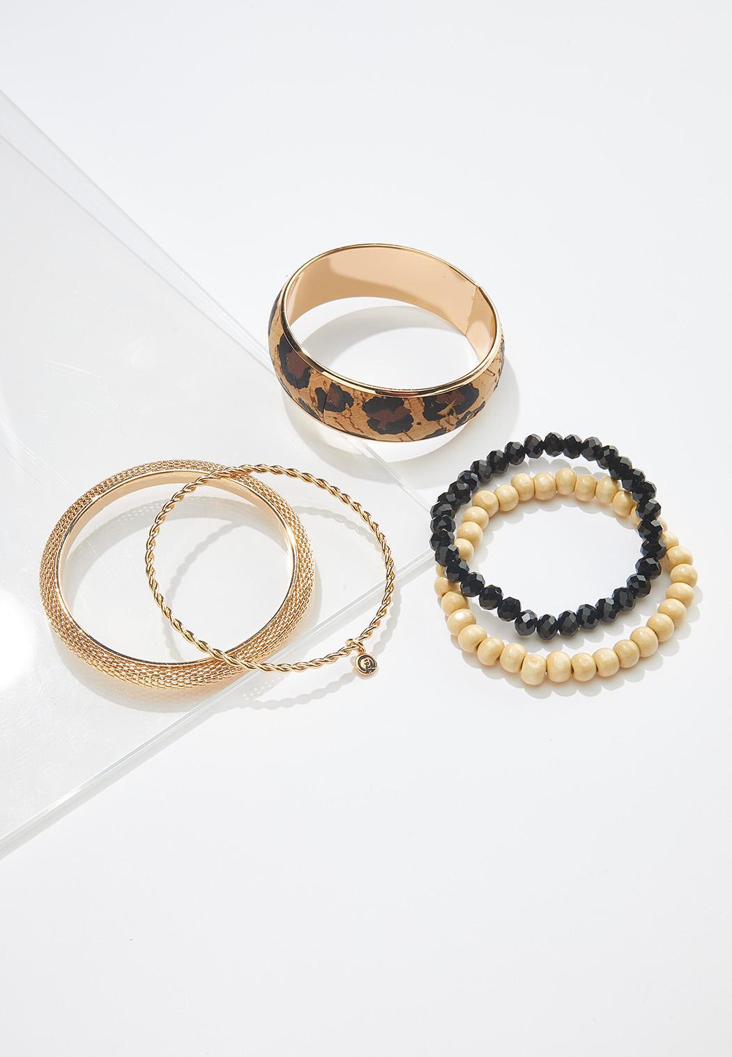 Leopard Cork Mixed Bracelet Set