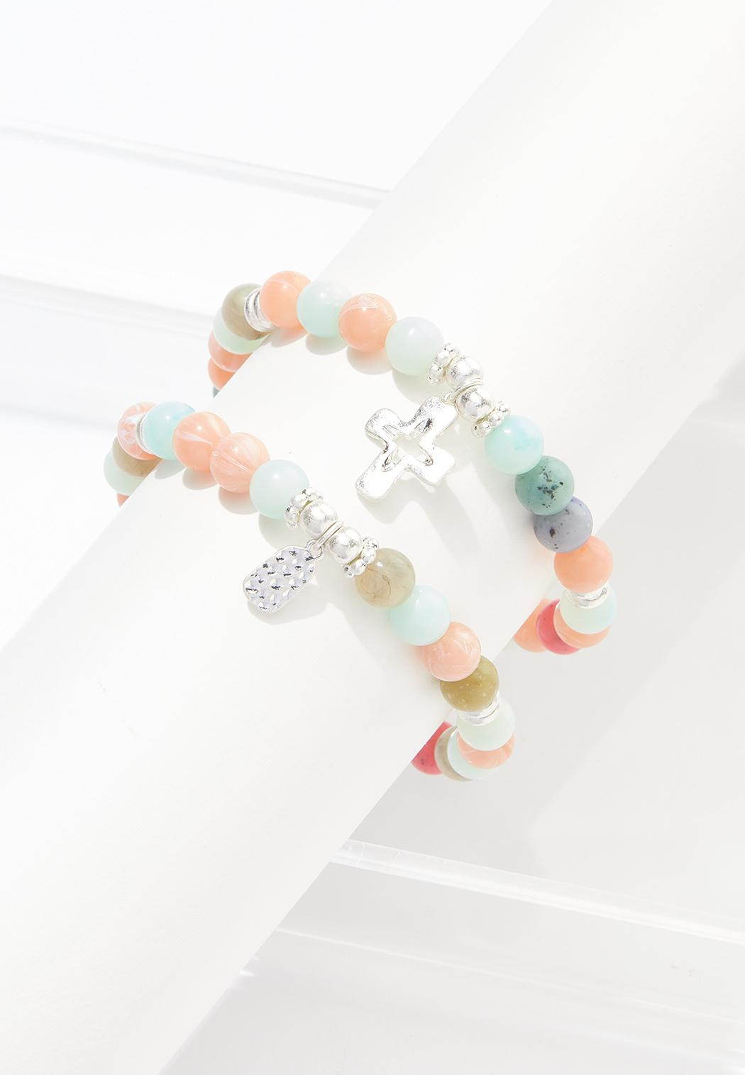 Cross Charm Beaded Bracelet Set