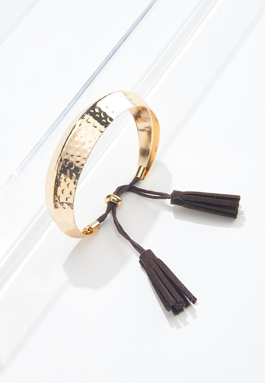 Tasseled Metal Cuff Bracelet