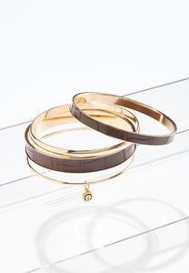 Croc Detail Bangle Bracelet Set