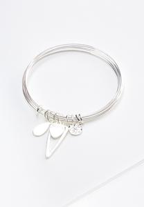 Mixed Charm Wire Bangle Bracelet