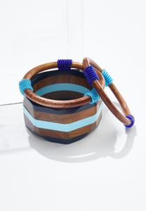 Bead Wrapped Wood Bangle Set