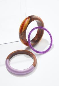 Wood And Seed Bead Bangle Set
