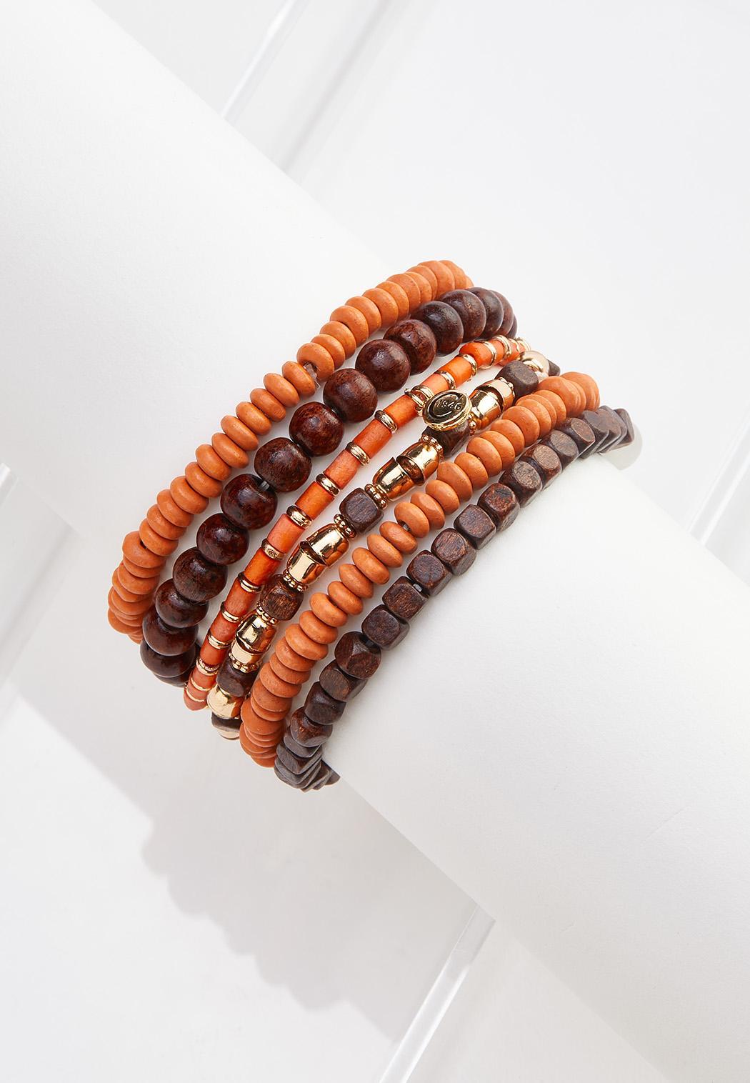 Wood And Metal Bead Stretch Bracelet Set