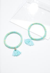Rubber Disc Tassel Bracelet Set