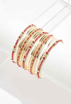 Seed Bead Bangle Bracelet Set