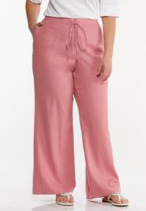 Plus Size Rose Linen Pants