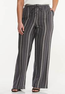 Plus Size Stripe Linen Pants