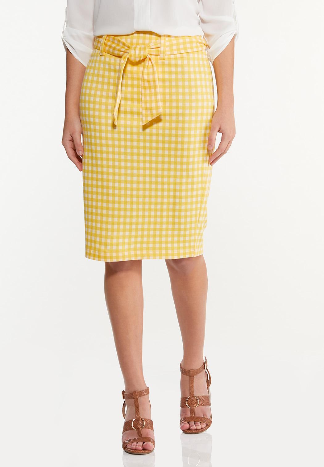 Plus Size Gold Gingham Skirt