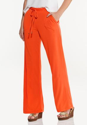 Solid High- Rise Pants
