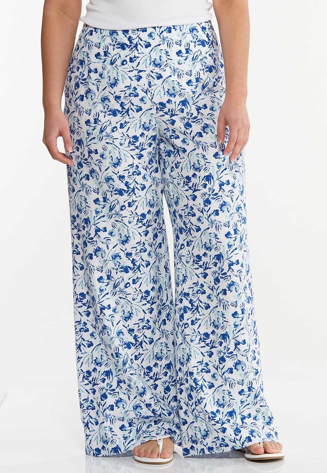 Plus Size Floral Linen Wide Leg Pants
