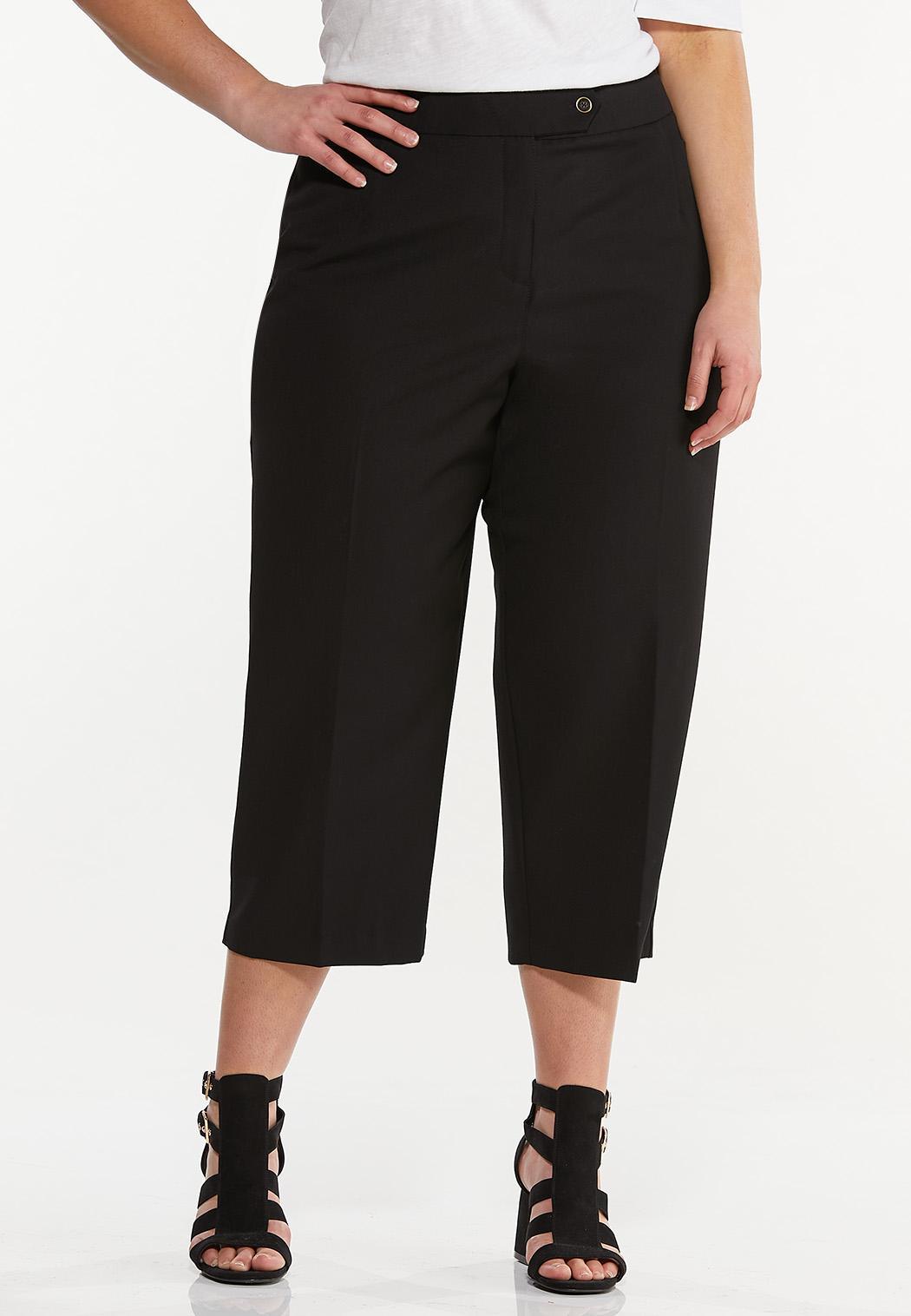 Plus Size Cropped Trouser Pants