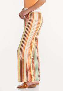 Petite Melon Stripe Wide Leg Pants