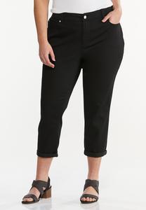 Plus Size Cropped Black Skinny Jeans
