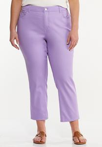 Plus Size Cropped Lavender Skinny Jeans