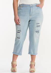 Plus Size Cropped Distressed Boyfriend Jeans