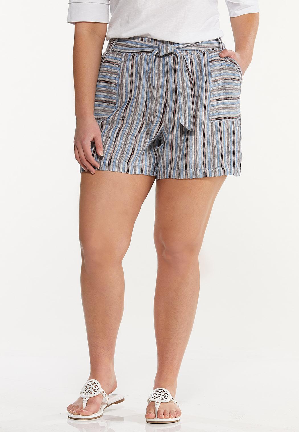 Plus Size Vintage Stripe Linen Shorts