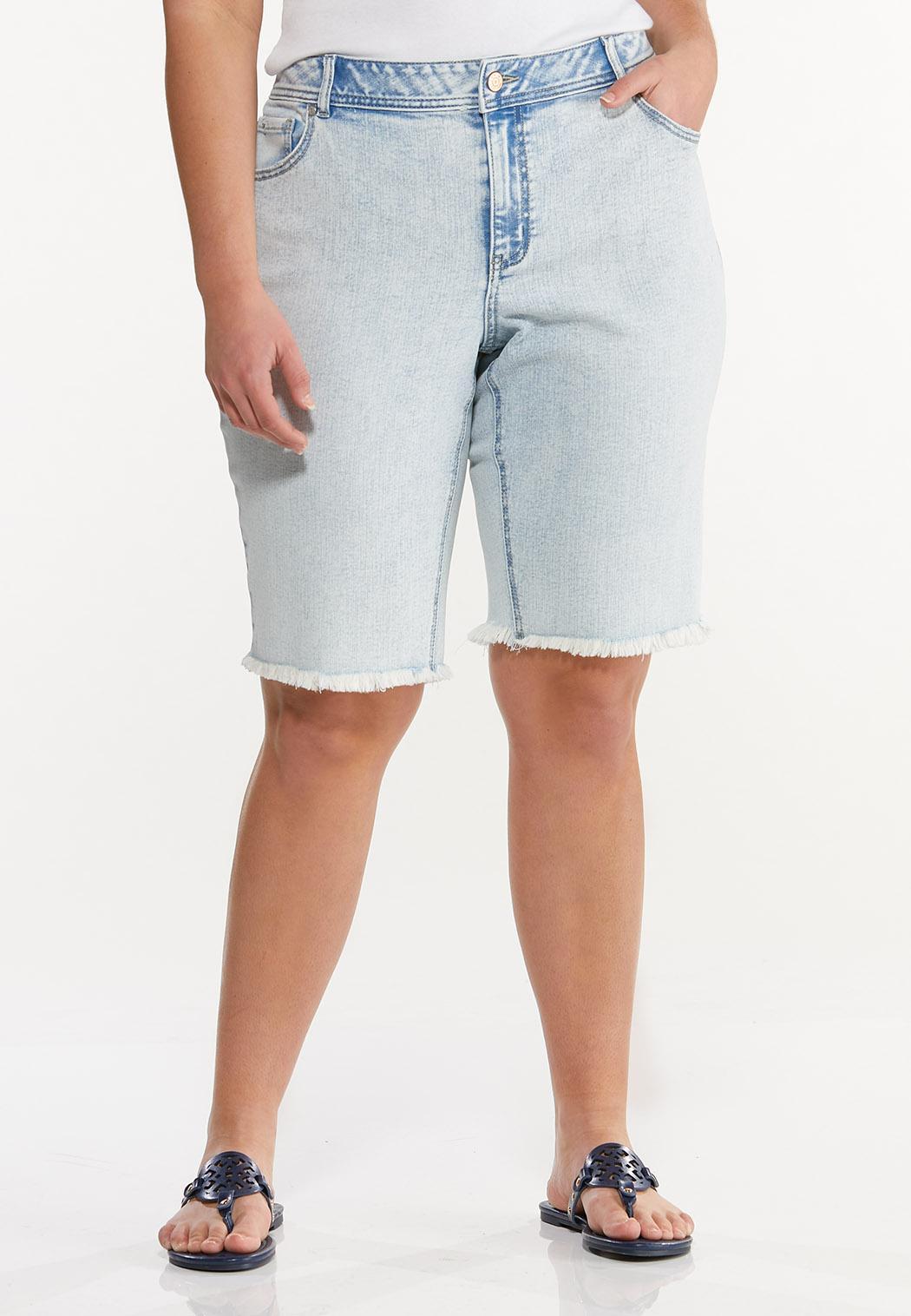 Plus Size Frayed Denim Bermuda Shorts