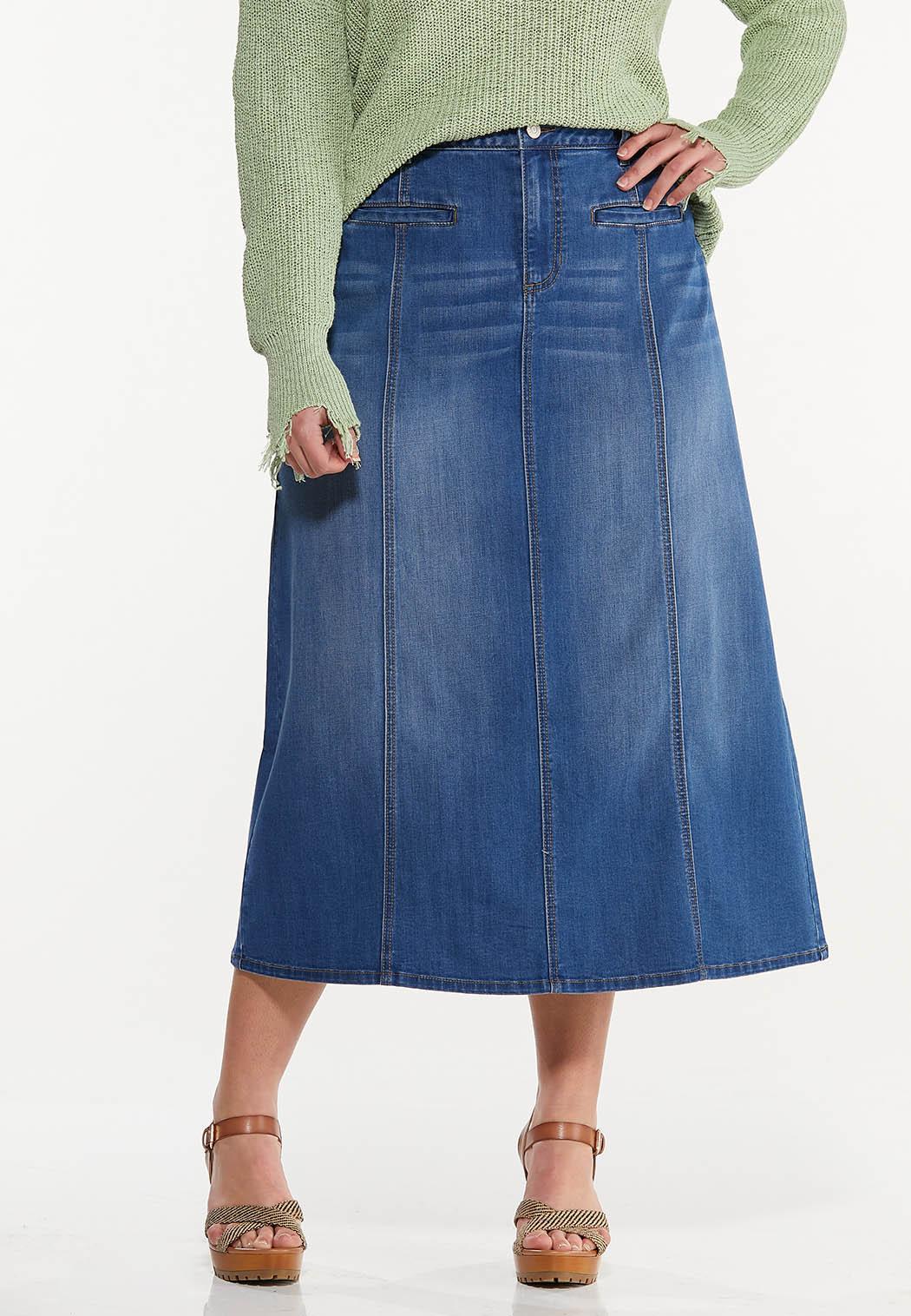 Plus Size Denim Maxi Skirt