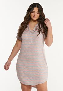 Plus Size Striped Sleep Tee