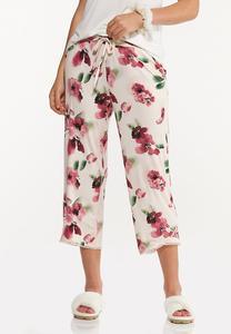 Cropped Floral Sleep Pants