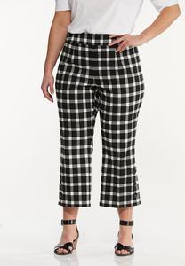 Plus Size Cropped Gingham Flare Pants