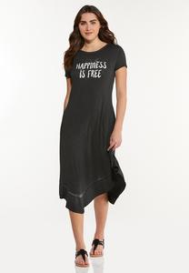 Plus Size Happiness Is Free T-Shirt Dress