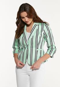 Plus Size Stripe Mint Blazer