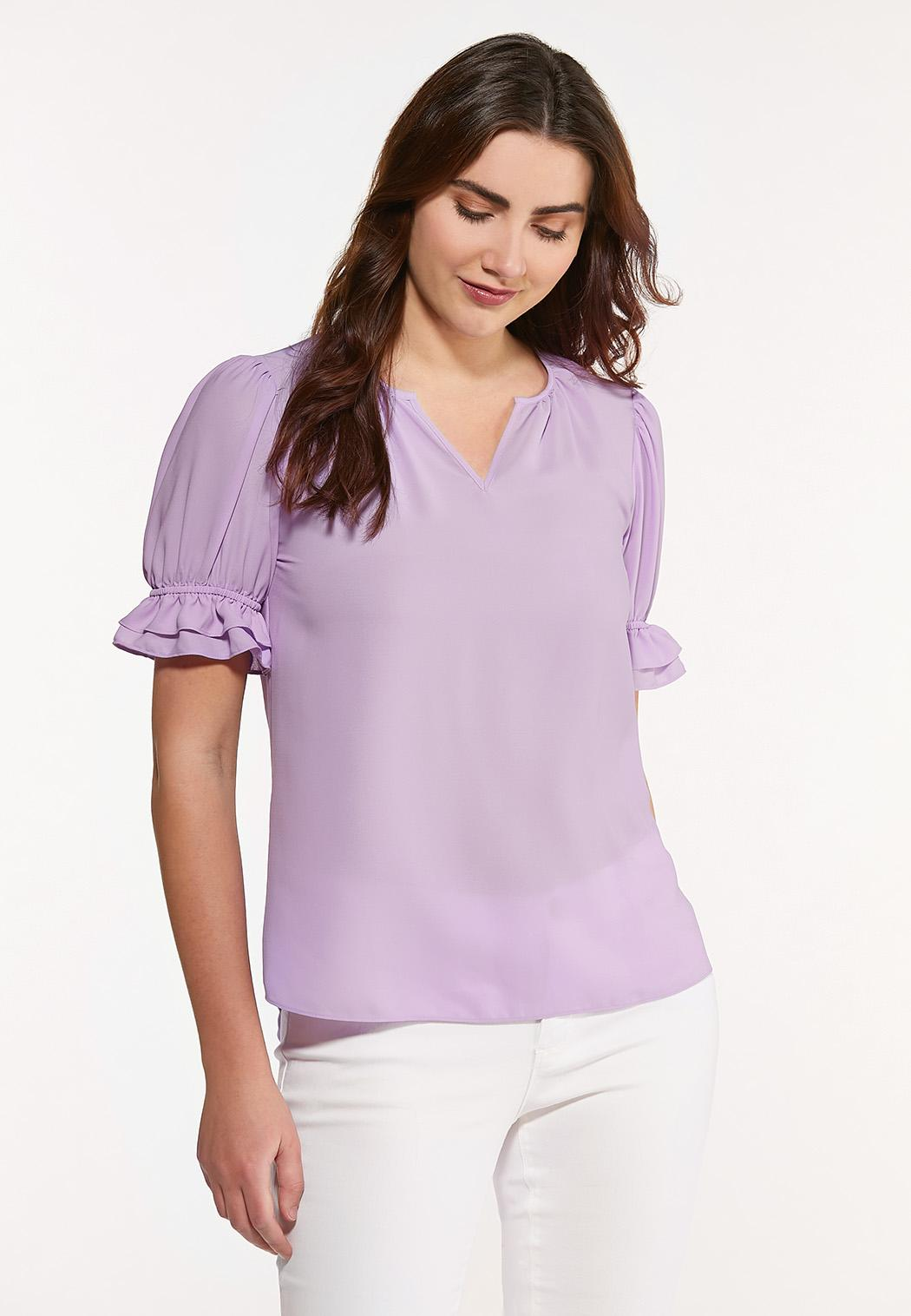 Plus Size Violet Puff Sleeve Top