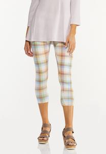Cropped Pastel Plaid Leggings