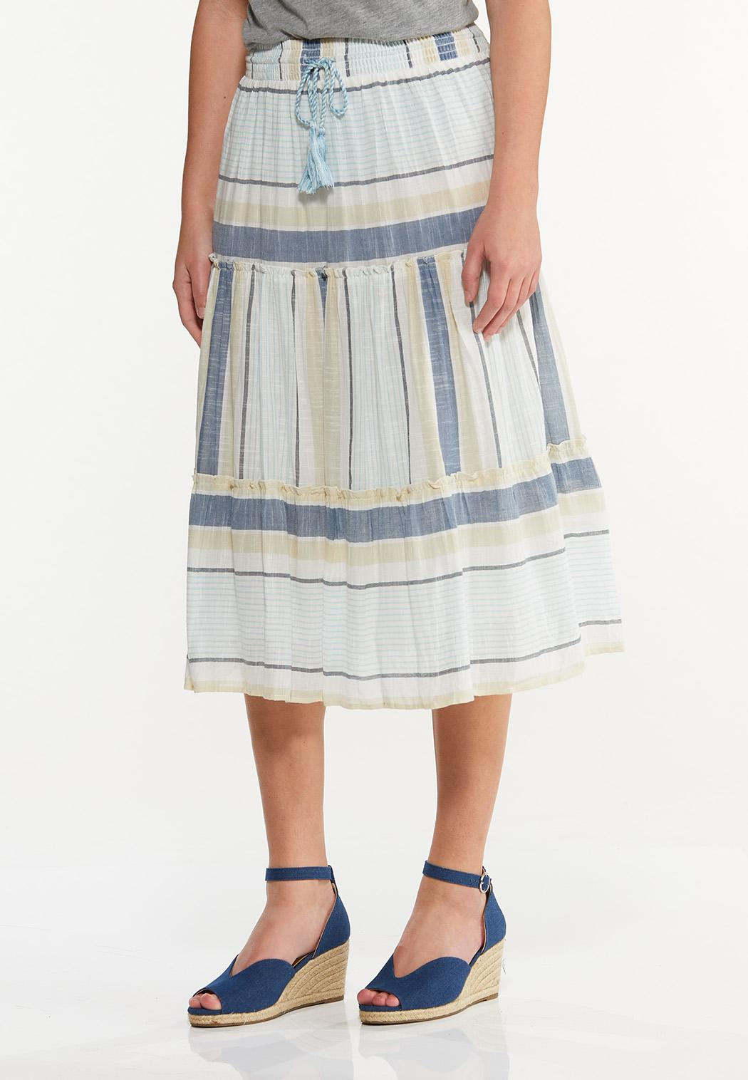 Plus Size Tiered Mixed Stripe Midi Skirt