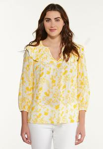 Golden Floral Poet Top