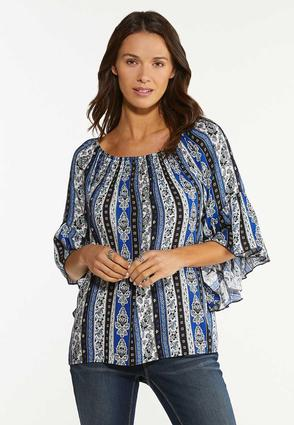 Floral Stripe Poet Top