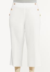 Plus Size Cropped Sailor Pants