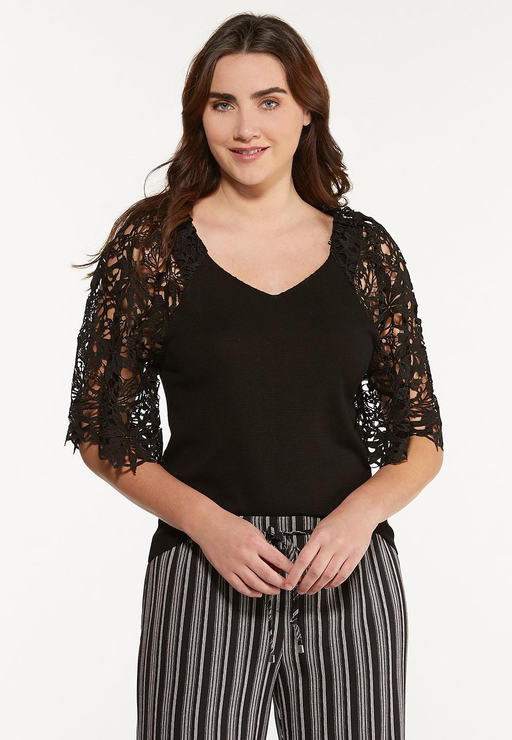 Plus Size Crochet Sleeve Sweater