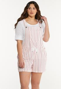 Plus Size Dashing Stripe Overall Shorts