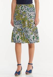 Plus Size Sunflower Fields Midi Skirt