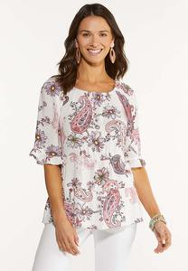 Plus Size Tiered Pink Paisley Top